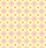 Patterned floral retro circle pattern. Vector seamless floral and geometric patterns in pink, green and white colors Royalty Free Stock Images