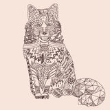 Patterned fox. Zentangle style. Good for T-shirt, bag or whatever print. Vector illustration Stock Photography