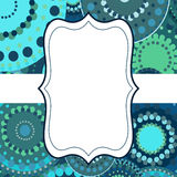 Patterned frame background invitation circular ornament blue Stock Photos
