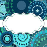 Patterned frame background invitation circular ornament blue Stock Images
