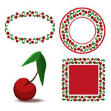 Patterned frame with cherries. Curly frame with berries ripe cherry Royalty Free Stock Photos