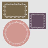 Patterned frames retro. Patterned frames in the form of a circle, square, rectangle stock illustration