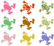 Patterned frogs. Colourful abstract patterned frogs isolated on white Stock Photos