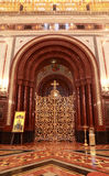 Patterned gilt door in arch inside Cathedral. Of Christ the Saviour in Moscow, Russia royalty free stock images