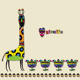 Patterned giraffe with flowers and an inscription in English. Stock Image