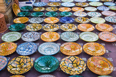 Patterned glazed dishes Royalty Free Stock Image