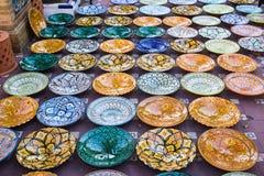 Patterned glazed dishes Royalty Free Stock Image