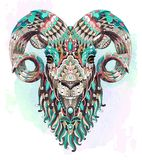 Patterned goat on the watercolor background. Ram. Sheep. Tattoo design. It may be used for design of a t-shirt, bag, postcard, a poster and so on stock illustration