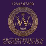 Patterned gold letters and numbers with initial monogram. Elegant patterned font and elements kit for logo design.  royalty free illustration