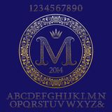 Patterned gold letters and numbers with initial monogram. Elegant font and elements kit for logo design Royalty Free Stock Image