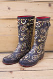 Patterned Gumboots. A pair of wellies (gumboots) on a wooden floor Royalty Free Stock Images