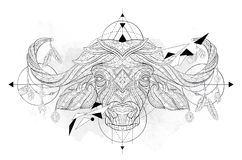 Patterned head of the buffalo with geometry Royalty Free Stock Image