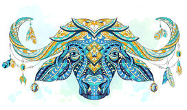 Patterned head of the buffalo vector illustration