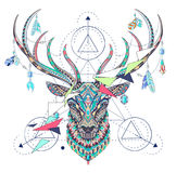 Patterned head of the deer with geometry Stock Photos