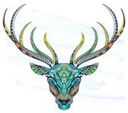 Patterned head of the deer on the grunge background. royalty free illustration
