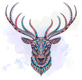 Patterned head of deer stock illustration