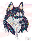Patterned head of the dog husky. On the grunge background. African / indian / totem / tattoo design. It may be used for design of a t-shirt, bag, postcard, a Royalty Free Stock Photos