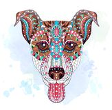 Patterned head of dog terrier royalty free illustration