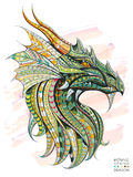 Patterned head of the dragon Royalty Free Stock Images