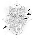 Patterned head of the fox with geometry. On the grunge background. African, indian, totem, tattoo design. It may be used for design of a t-shirt, bag, postcard Stock Photos