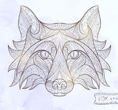 Patterned head of the fox Stock Images