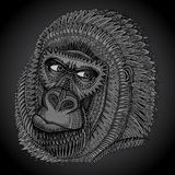 Patterned head of the gorilla in graphic style. Royalty Free Stock Photography