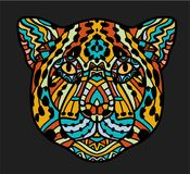 Patterned head of Jaguar. Adult anti-stress coloring page. Black white and color hand drawn animal. African, indian Stock Photo