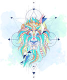 Patterned head of the lion with geometry Royalty Free Stock Photography
