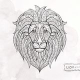 Patterned head of lion Stock Photos
