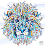 Patterned head of the lion. On the grunge background. African / indian / totem / tattoo design. It may be used for design of a t-shirt, bag, postcard, a poster