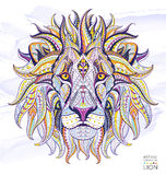 Patterned head of the lion. On the grunge background. African / indian / totem / tattoo design. It may be used for design of a t-shirt, bag, postcard, a poster Stock Photography