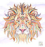 Patterned head of the lion. On the grunge background. African / indian / totem / tattoo design. It may be used for design of a t-shirt, bag, postcard, a poster Royalty Free Stock Image