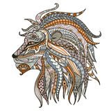 Patterned head of lion head on the white background. African,boho,indian,totem,tattoo design. Can be used for design of a t-shirt,. Tote bag, postcard,mug Stock Photos