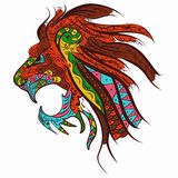 Patterned head of the lion tattoo design zentangle. Patterned head of the lion. African tattoo design zentangle stylized vector illustration Stock Photography