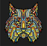 Patterned head of lynx. Adult anti-stress coloring page. Black white and color hand drawn animal. African, indian totem Royalty Free Stock Photos