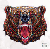 Patterned Head Of The Growling Bear Royalty Free Stock Image