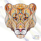 Patterned Head Of The Lioness Royalty Free Stock Photography