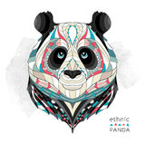 Patterned head of the panda. On the grunge background. African / indian / totem / tattoo design. It may be used for design of a t-shirt, bag, postcard, a Royalty Free Stock Photo