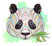 Patterned head of panda. On the grunge background. African / indian / totem / tattoo design. It may be used for design of a t-shirt, bag, postcard, a poster and Stock Photos