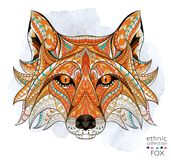 Patterned head of the red fox. On the grunge background. African / indian / totem / tattoo design. It may be used for design of a t-shirt, bag, postcard, a Stock Photography