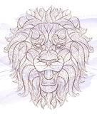 Patterned head of the roaring lion vector illustration