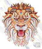 Patterned head of the roaring lion Royalty Free Stock Photography
