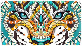Patterned head of the roaring tiger. African, indian, totem, tattoo design. It may be used for design of a t-shirt, bag, postcard, a poster and so on royalty free illustration