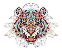 Patterned head of the roaring tiger. On the background with acanthus leaves. African, indian, totem, tattoo design. It may be used for design of a t-shirt, bag stock illustration