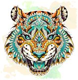 Patterned head of the roaring tiger. On the grunge background. African, indian, totem, tattoo design. It may be used for design of a t-shirt, bag, postcard, a vector illustration