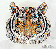 Patterned head of the tiger Stock Photos