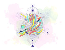 Patterned head of the unicorn with geometry Royalty Free Stock Images