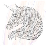 Patterned head of the unicorn Royalty Free Stock Photography