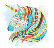 Patterned head of the unicorn Stock Images