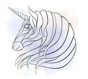 Patterned head of the unicorn Stock Photos